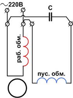 Схема реверса двигателя 220в